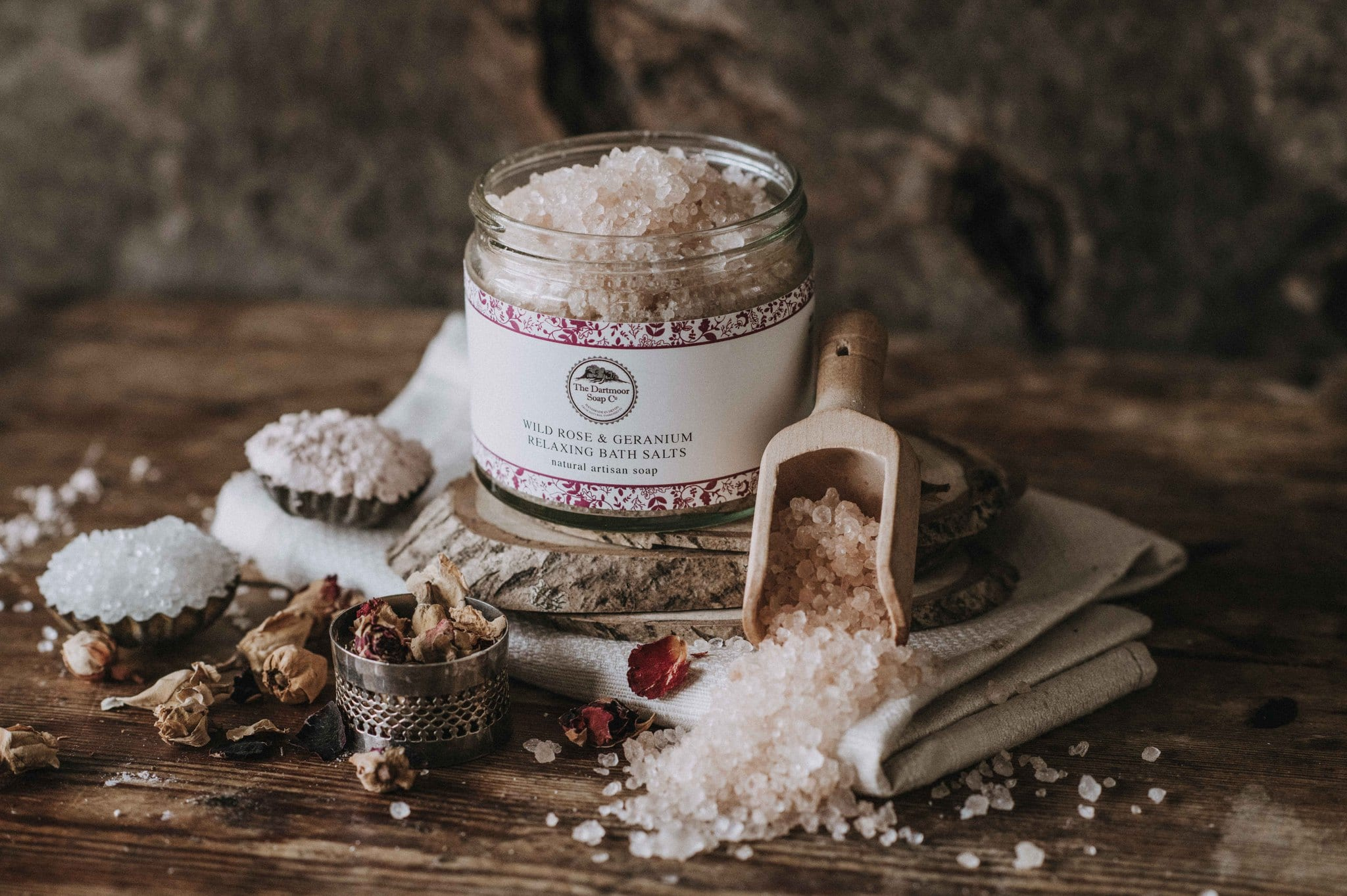 Wild Rose Geranium Relaxing Bath Salts The Dartmoor Soap Company Ltd